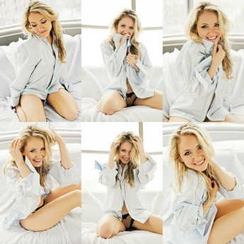 Boudoir Natural Light Blonde Blue Eyes Woman Fun & Flirty Man's shirt Ottawa