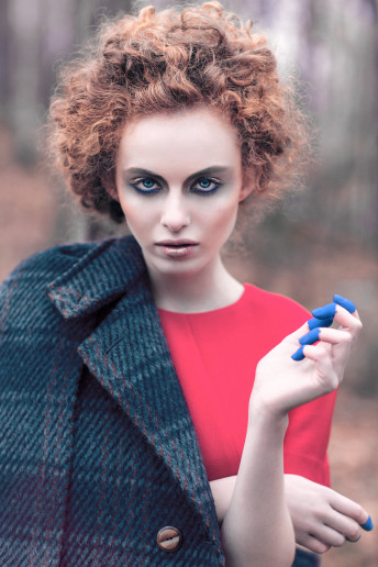 Katia Pershin Fashion Photography Dark Forest Alien Wool Fall Red Grey Blue Fingers