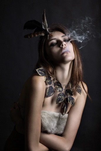 Katia Pershin Fashion Photography Dark Grunge Gold Roses Antlers Smoke Chains Orchid