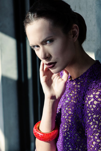 Katia Pershin Fashion Photography Dark Architecture Metal Purple Green Bright
