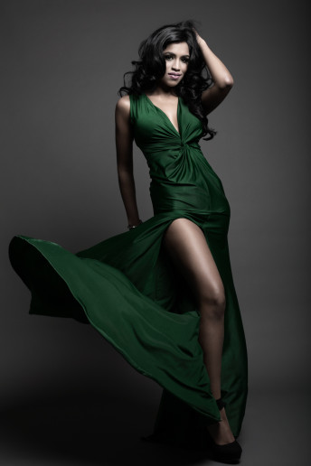Glamour Portrait Photography Green Evening gown
