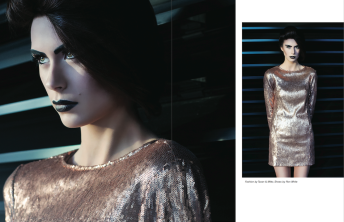 Katia Pershin Fashion Photography Dark Architecture Metal Dark Sequin Dressed Crisp Vigore Magazine