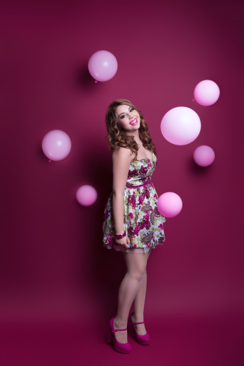 Glamour Portrait Photography Girl Pink Balloons Flowers Fresh