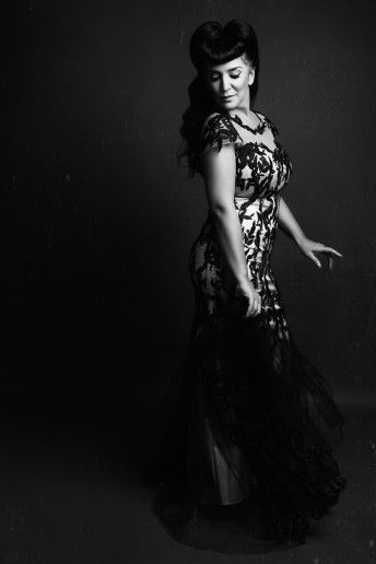 Katia Pershin Glamour Photography Ottawa Black and white Woman Studio Cantas Evening Gown Sussex Street