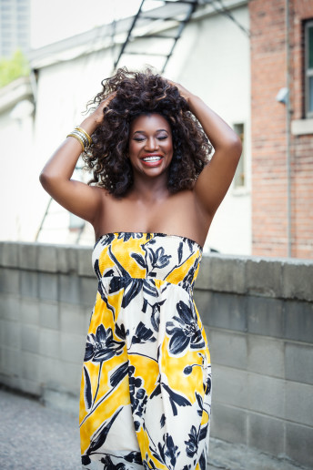Katia Pershin Photography Model Glamour Ottawa Studio Black Skin big smile yellow dress