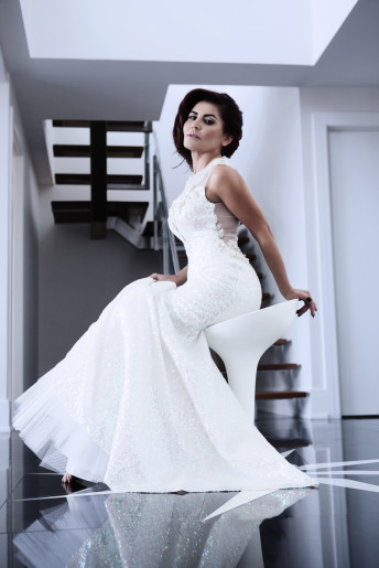 Cantas Evening Gown White Dress Woman Ottawa Stairs