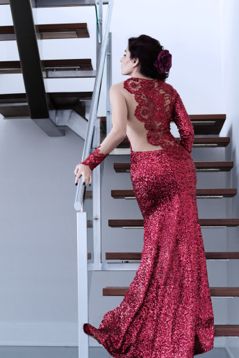 Cantas Evening Gown Red Sequence Dress Woman Ottawa Stairs
