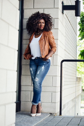 Katia Pershin Photography Model Glamour Ottawa Studio Black Skin leather jeans