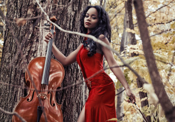 Katia Pershin Photography Portraits Cello Forest Red